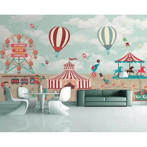Red Circus Amusement Park Textile Wallpaper
