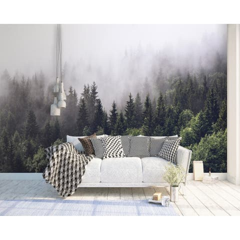 Forest Misty Jungle Natural Textile Wallpaper