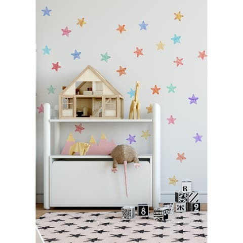 84 Pieces Watercolor Stars Removable Peel n Stick Wall Decal