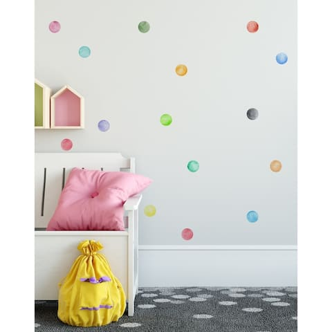 "63 Pieces 3"" Watercolor Little Circles Polka Dots Wall Sticker Set"
