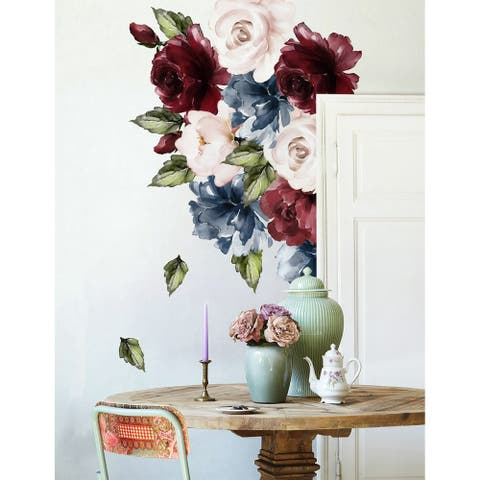 Dark Blue Peony Red and Pink Rose Floral Wall Decal