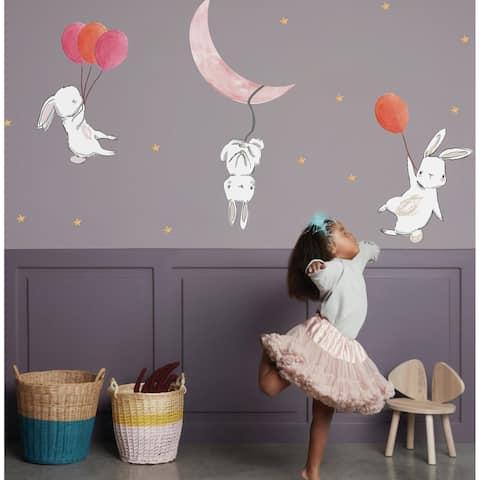 Cute Cartoon Bunny, Moon and Stars Wall Sticker