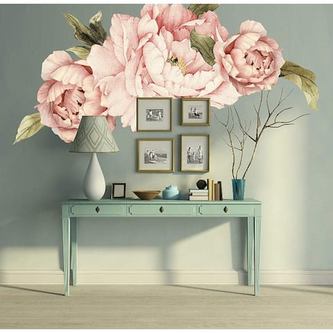 Pink Peonies Bouquet Flower Wall Decal