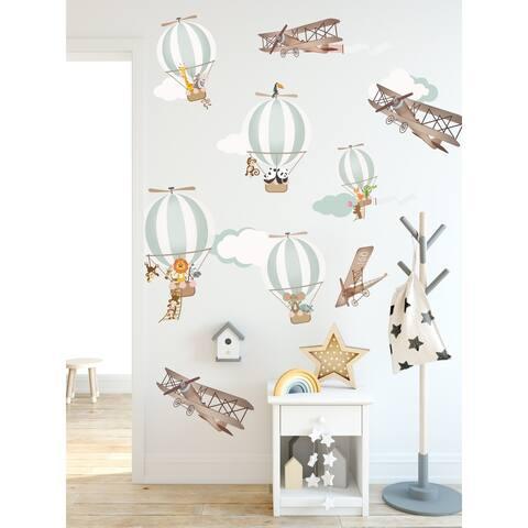 Hot Air Balloon and Vintage Aircraft Wall Decal