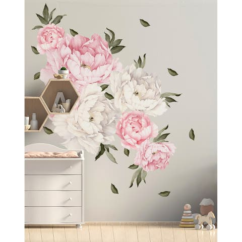 28 Piece Peony Flowers Wall Decal Set