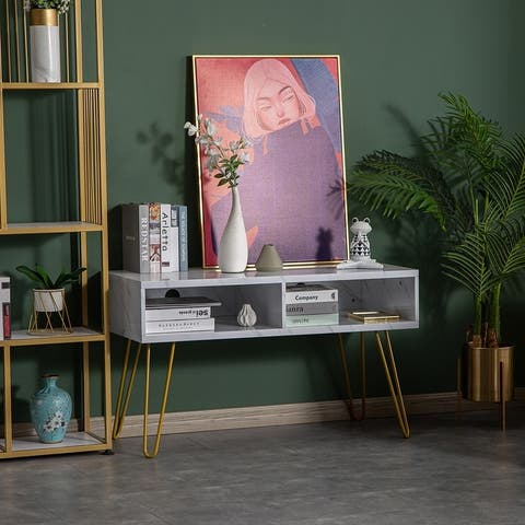 Iron Feet TV Cabinet Console Table Dressing Table White Marble