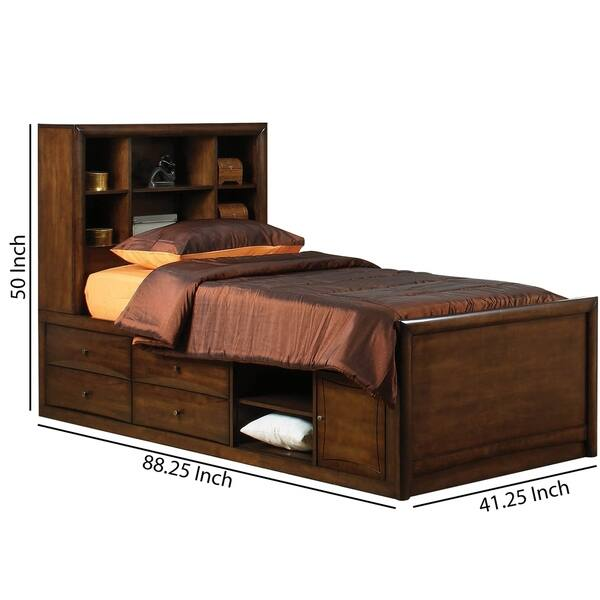 Wooden Twin Size Bed With Headboard