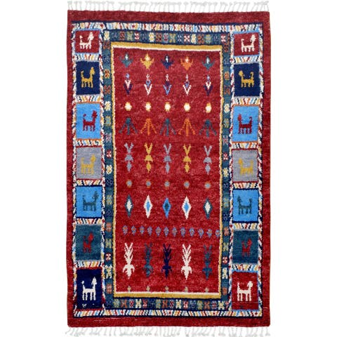"Geometric Tribal Moroccan Area Rug Hand-Knotted Foyer Carpet - 4'7"" x 8'2"""