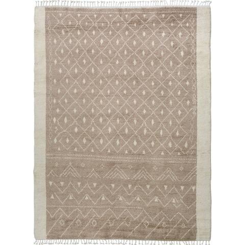 "Brown Tribal Moroccan Home Decor Area Rug Handmade Living Room Carpet - 7'9"" x 9'10"""