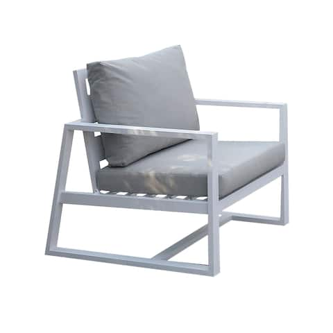 Industrial Outdoor Metal Arm Chair with Padded Seating, Beige and White