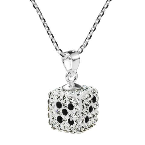 Handmade Sparkling Dice Sterling Silver Crystal Necklace (Thailand)
