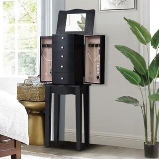 Mirrored Jewelry Cabinet Armoire Storage Chest Organizer Free Stand