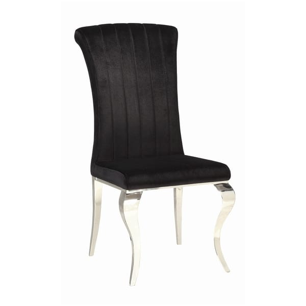 Metal Dining Chair With Cabriole Front Legs Set Of 4 Black And Chrome On Sale Overstock 30922134