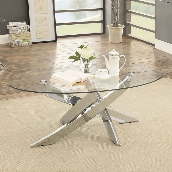Oval Shape Glass Top Coffee Table With Criss Cross Base Silver And Clear Overstock 30922209