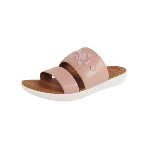 Fitflop Womens 'Delta Leather Slide Crystal' Sandals