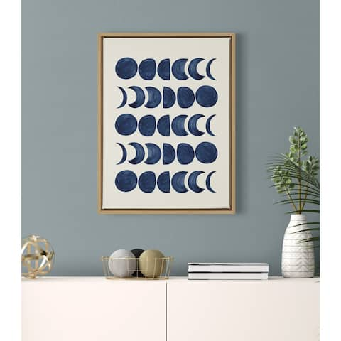 Kate and Laurel Sylvie 901 Moon Phases Framed Canvas by Teju Reval
