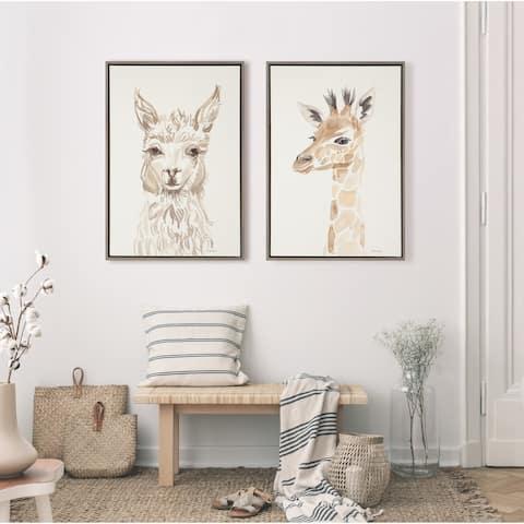 Kate and Laurel Sylvie Watercolor Alpaca Canvas by Patricia Shaw
