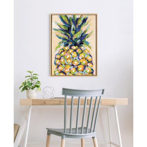 Kate and Laurel Sylvie Pineapple Framed Canvas by Rachel Christopoulos