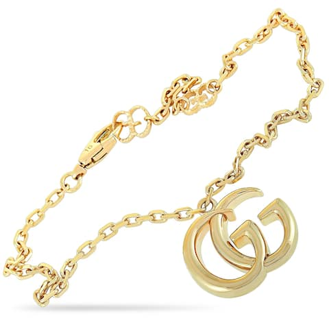 Gucci GG Running Yellow Gold Double G Charm Bracelet Size 16