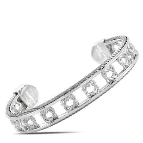 Charriol Heart to Heart Sterling Silver Bangle Bracelet Size Large