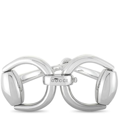 Gucci Horsebit Rhodium-Plated Silver Bracelet Size 17