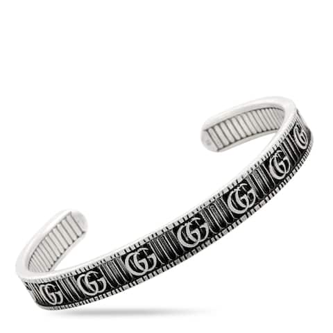 Gucci GG Marmont Aged Sterling Silver Double G Motif Cuff Bracelet Size 18