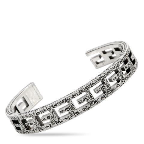 Gucci G Cube Aged Sterling Silver G Motif Cuff Bracelet Size 19