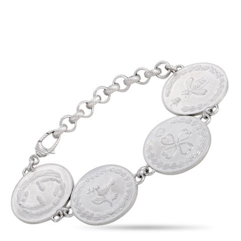 Gucci Rhodium-Plated Sterling Silver Coin Multicharm Bracelet