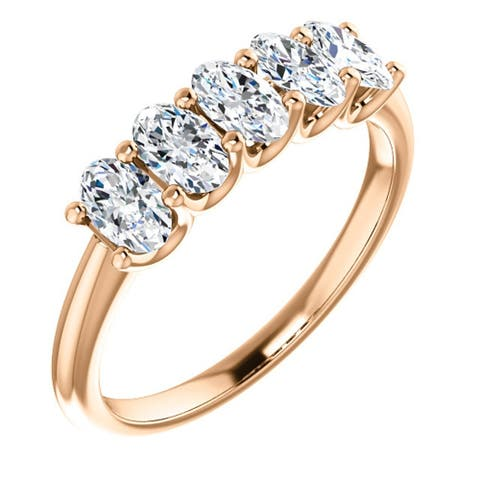 1 1/2Ct Oval Moissanite Marquise Wedding Ring in Rose Gold