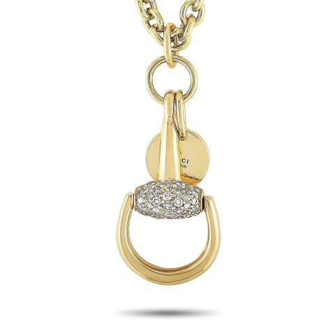 Gucci Horsebit Yellow Gold and Brown Diamond Necklace Length N/A