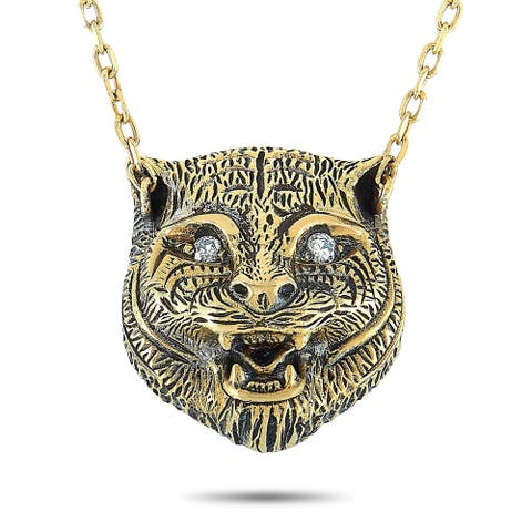Gucci LMDM Yellow Gold Diamond and Turquoise Feline Motif Pendant Necklace Length N/A