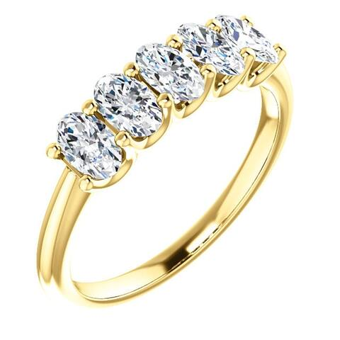 1 1/2Ct Oval Moissanite Marquise Wedding Ring in Yellow Gold