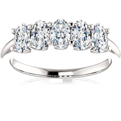 1 1/2Ct Oval Moissanite Marquise Wedding Ring in White Gold