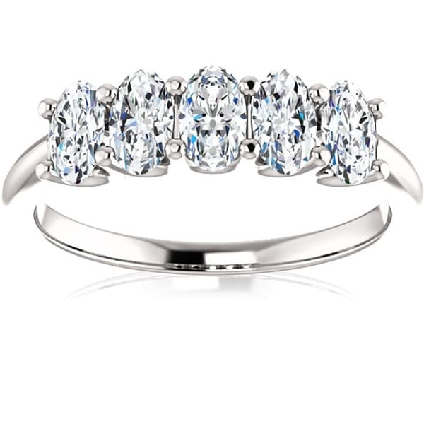 1 1/2Ct Oval Moissanite Marquise Wedding Ring in White Gold. Opens flyout.