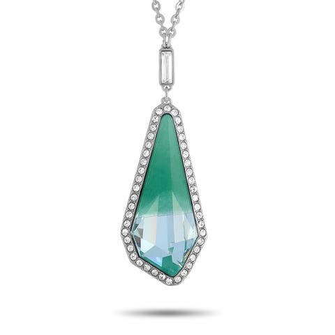 Swarovski Rhodium-Plated Stainless Steel Green and Clear Crystals Pendant Necklace Length N/A