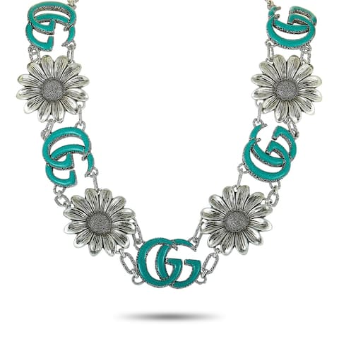 Gucci GG Marmont Aged Sterling Silver and Turquoise Resin Flower Motif Necklace Length N/A