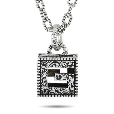 Gucci G Cube Aged Sterling Silver G Motif Pendant Necklace Length N/A