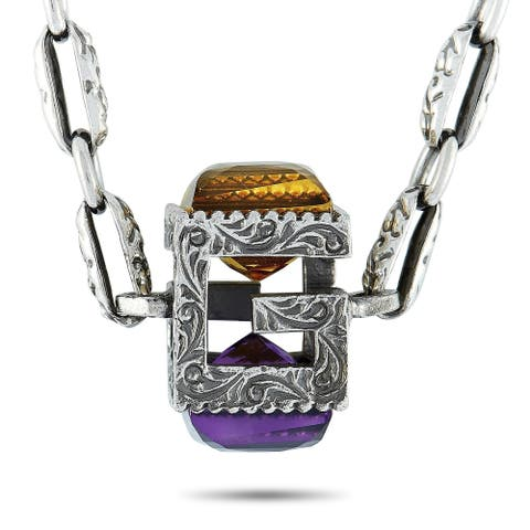 Gucci G Cube Aged Sterling Silver and Synthetic Stones G Motif Pendant Necklace Length N/A