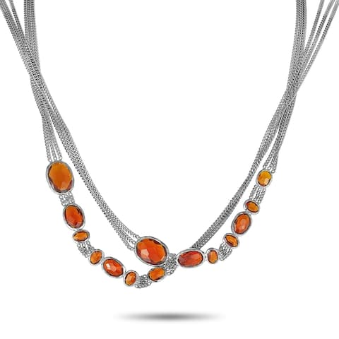 Gucci Raindrop Silver and Synthetic Orange Stone Necklace Length N/A