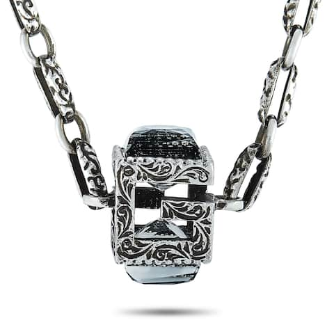 Gucci G Cube Aged Sterling Silver and Crystal Synthetic Stones G Motif Pendant Necklace Length N/A