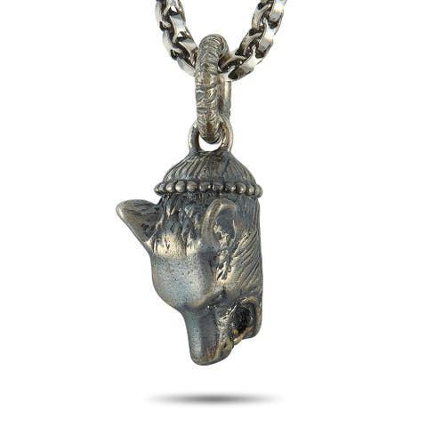 Gucci Anger Forest Silver Wolf Motif Pendant Necklace Length N/A