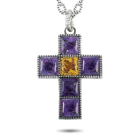 Gucci G Cube Aged Sterling Silver and Synthetic Gemstones G Motif Cross Pendant Necklace Length N/A