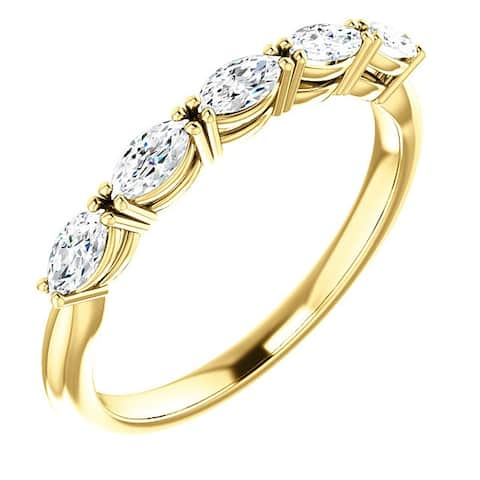 1 1/2Ct Oval Moissanite Wedding Ring Available in Yellow Gold