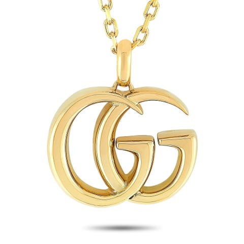 Gucci GG Running Yellow Gold Large Pendant Necklace Length N/A