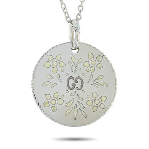 Gucci Icon Blooms White Gold and White Enamel Necklace Length N/A