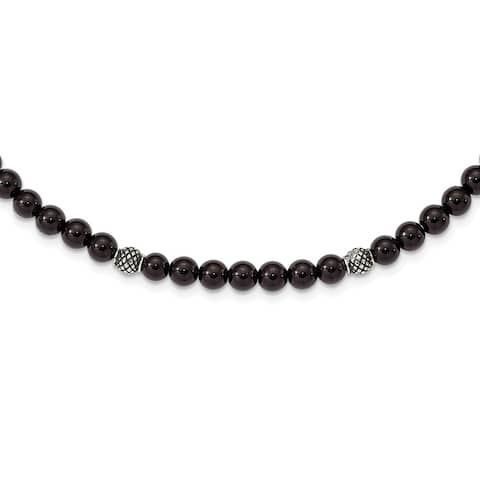 Chisel Stainless Steel Antiqued and Polished Black Agate Beaded with 2-inch Extension Necklace