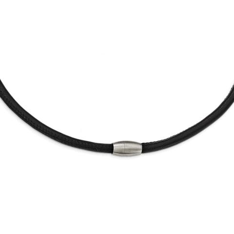 Chisel Stainless Steel Brushed Black Leather Necklace