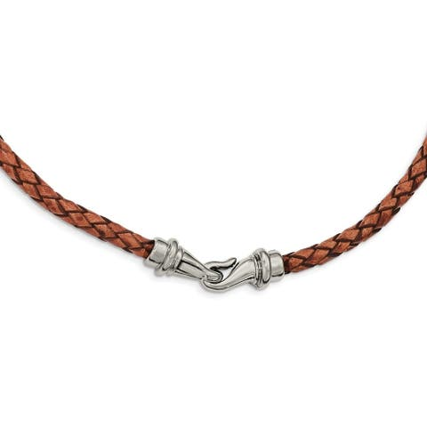 Chisel Stainless Steel Polished Woven Brown Leather Necklace
