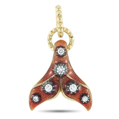 Gucci Yellow Gold Diamond Red Enamel Fin Motif Charm
