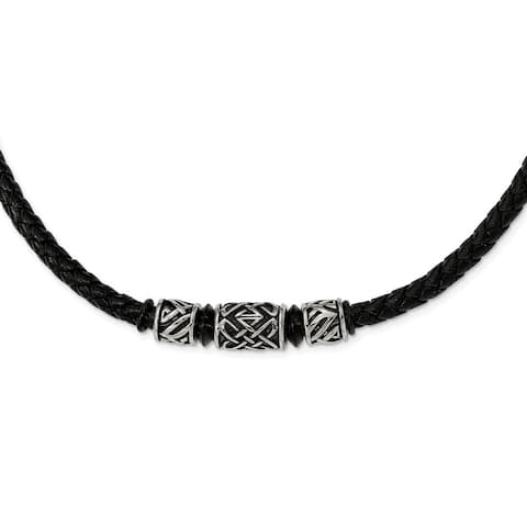 Chisel Stainless Steel Antiqued and IP Black-plated Bead Braided Leather Necklace